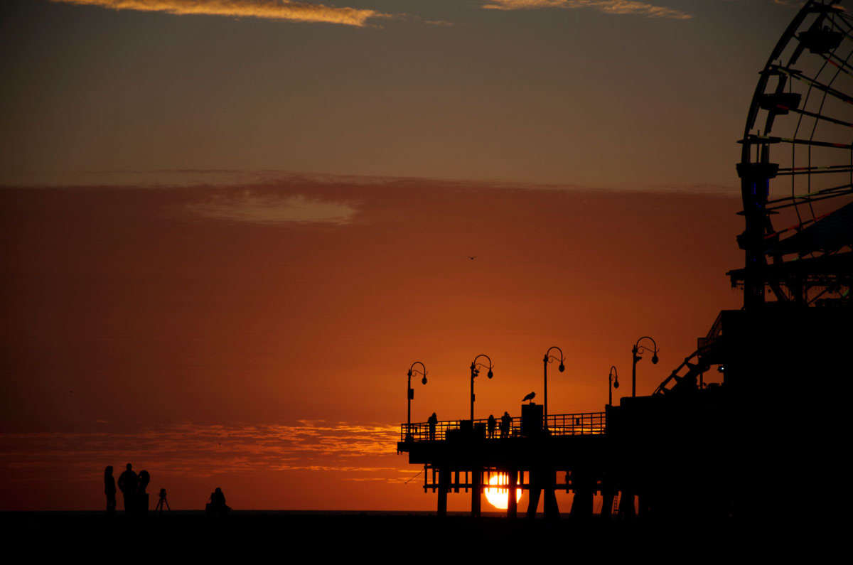 Warm sunset at Santa Monica Pier...
