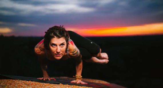 yoga photo shoot at sunset