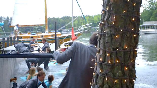 Beware of Weak Docks When Shooting a Wedding Party Over Water wet1
