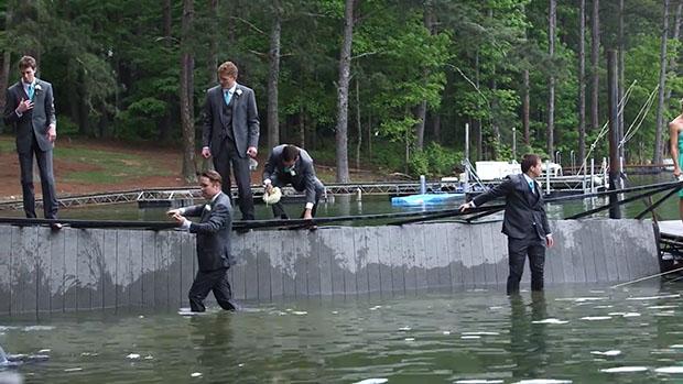 Beware of Weak Docks When Shooting a Wedding Party Over Water wet3