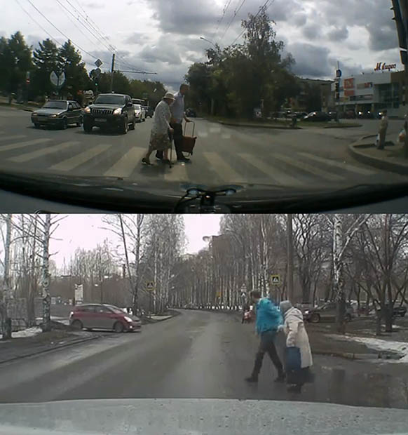 Random Acts of Kindness Captured by Car Dashcams in Russia crosswalks