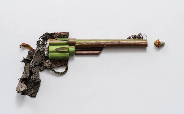 Harm Less: A Photo Series of Firearms Made Entirely out of Plants harmless2